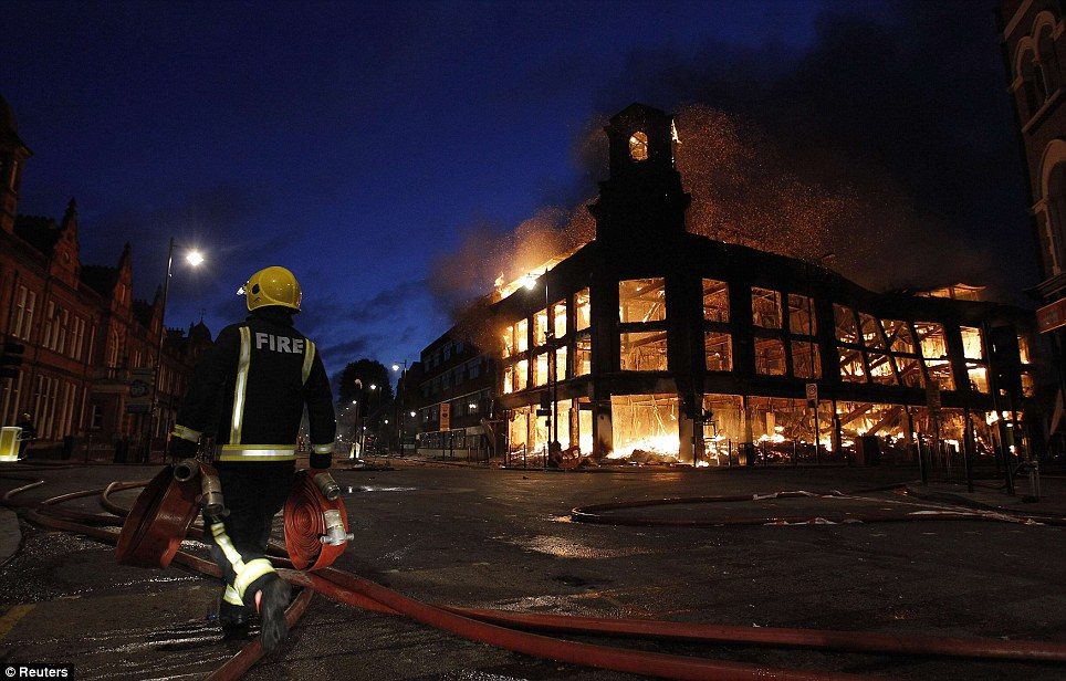 an office building that goes down in flames